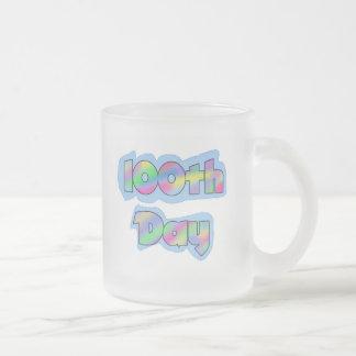 Rainbow Effect 100th Day of School Tshirts Frosted Glass Coffee Mug