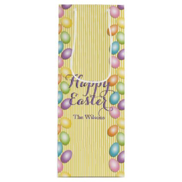 Professional Business Rainbow Eggs Name or Business Easter Wine Gift Bag