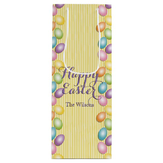 Rainbow eggs name or business easter wine gift bag zazzle rainbow eggs name or business easter wine gift bag negle Images