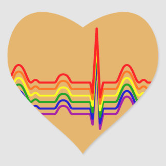 Rainbow EKG Heart Sticker