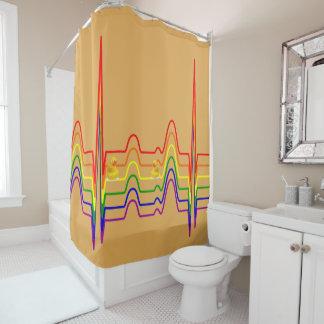 Rainbow EKG Sunray Shower Curtain