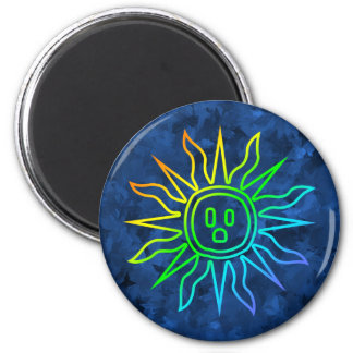 Rainbow Electric Sun 2 Inch Round Magnet