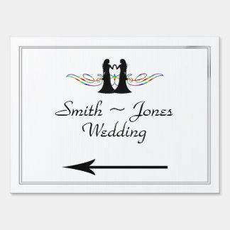 Rainbow Elegance Brides Wedding Direction Sign