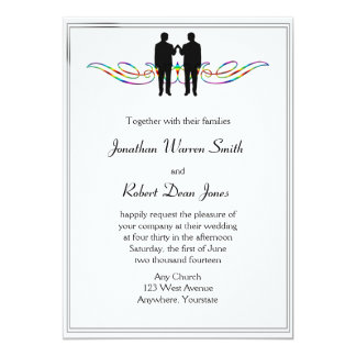 Rainbow Elegance Gay Groom Wedding Invitation