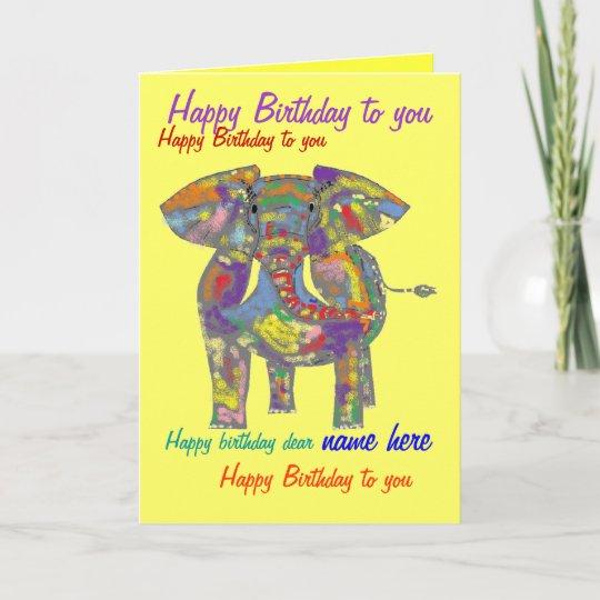 Rainbow Elephant Birthday Card Custom Front Inside