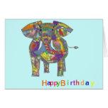 Rainbow Elephant, colourful design,for anyone. Greeting Card