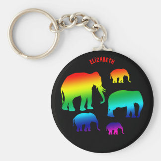Rainbow Elephant Family With Three Calves Keychain