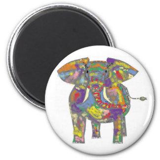 Rainbow Elephant magnet. 2 Inch Round Magnet