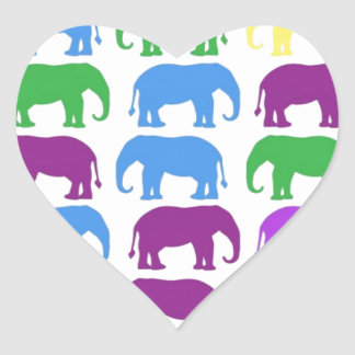 Rainbow Elephants Classy Designer Heart Sticker