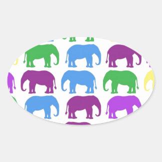 Rainbow Elephants Classy Designer Oval Stickers