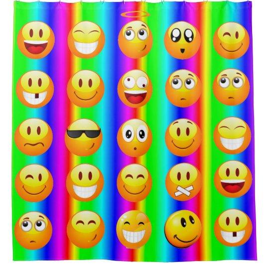 Rainbow Emoji Bathroom Shower Curtain