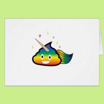 Rainbow Emoji Poop Cute Girl funny  Birthday Party Card