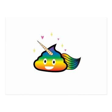 de_look Rainbow Emoji Poop Cute Girl funny  Birthday Party Postcard