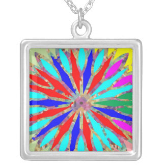 Rainbow Energy Pattern Square Pendant Necklace