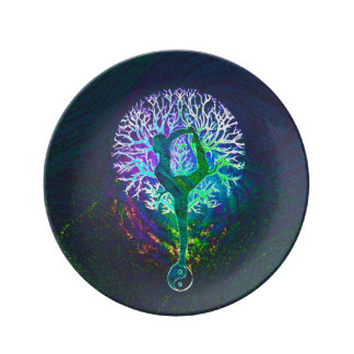 Rainbow Energy Yin Yang Yoga Dinner Plate