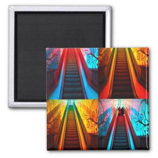Rainbow Escalator collage 2 Inch Square Magnet