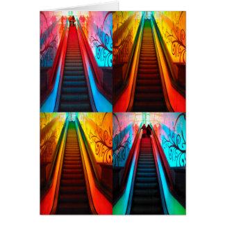 Rainbow Escalator Collage - Greeting Card