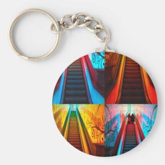 Rainbow Escalator Collage Key Ring