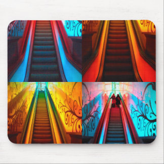 Rainbow Escalator Collage Mouse Pad