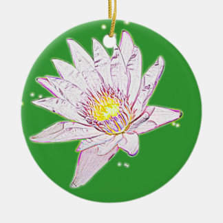 Rainbow Etching Lotus Double-Sided Ceramic Round Christmas Ornament