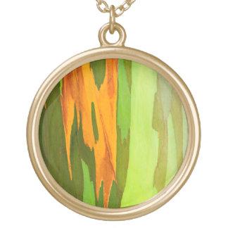 Rainbow Eucalyptus bark, Hawaii Gold Plated Necklace