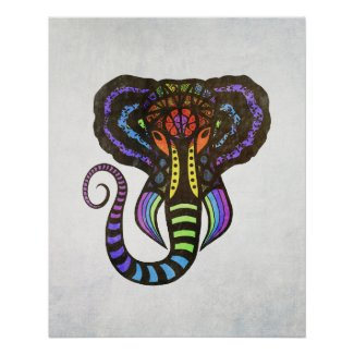 Rainbow Extravagant Elephant Illustration on Gray Poster