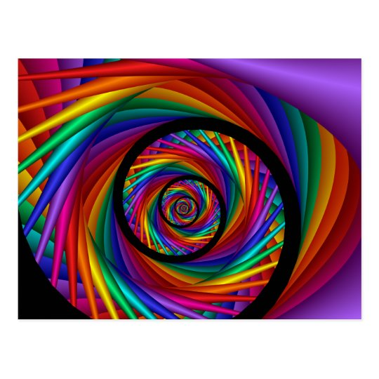 Rainbow EYE Fractal Postcard