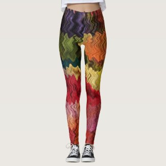 Rainbow Fabric Abstract Pattern Leggings