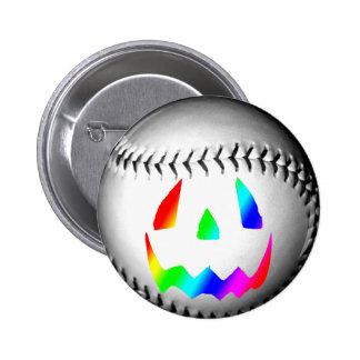 Rainbow Face Baseball Pinback Buttons