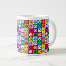 Rainbow face squares giant coffee mug