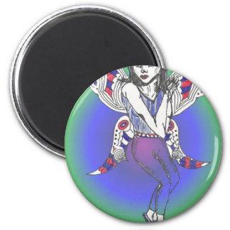rainbow fae 2 inch round magnet