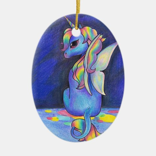 Rainbow Faerie Unicorn Ceramic Ornament