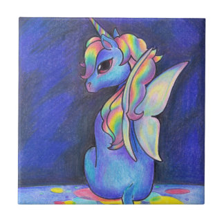 Rainbow Faerie Unicorn Ceramic Tile