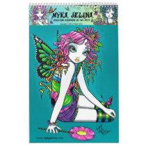 rainbow, fairy, candy, flower, butterfly, faery, faerie, fairies, gothic, myka, jelina, acrylic, Calendário com design gráfico personalizado