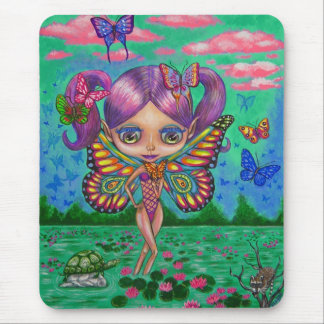 Rainbow Fairy with Butterflies and Water Lilies Mouse Pad