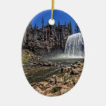 Rainbow Falls Double-Sided Oval Ceramic Christmas Ornament