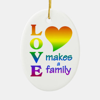 Rainbow Family ornament, customize Ceramic Ornament