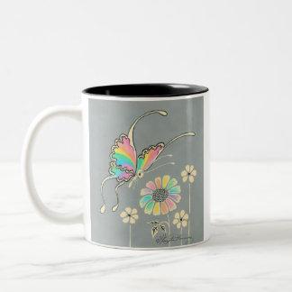 Rainbow Fantasy Butterfly Two-Tone Coffee Mug