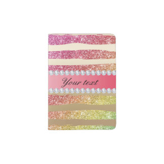 Rainbow Faux Glitter Stripes Diamonds Gold Passport Holder