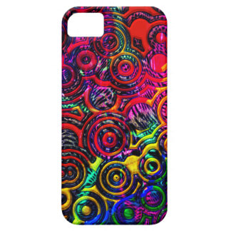 Rainbow faux metallic texture circular pattern iPhone SE/5/5s case