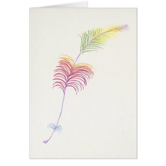 Rainbow Feather Drawing Card