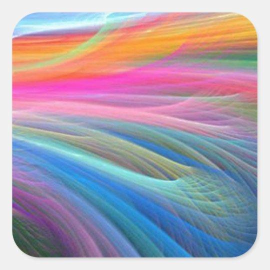 rainbow feather pastel pattern square sticker