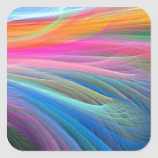 rainbow feather pastel pattern square sticker