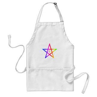 Rainbow female Homosexual Pentagram Adult Apron