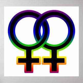 Rainbow Female Homosexual Symbol Poster