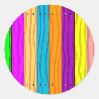 Rainbow Fence Classic Round Sticker