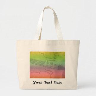 Rainbow Fiddle for violinists Customizable Jumbo Tote Bag