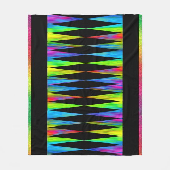 [Rainbow Fiesta] Bright Harlequin Geometric 1 Fleece Blanket