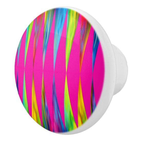 [Rainbow Fiesta] Bright Harlequin Geometric Ceramic Knob