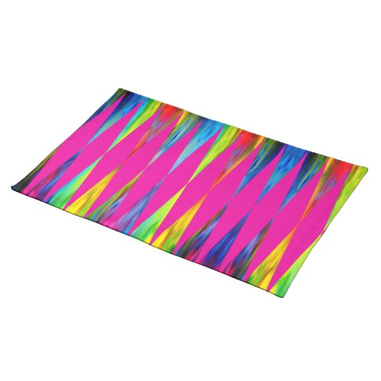 [Rainbow Fiesta] Bright Harlequin Geometric Cloth Placemat